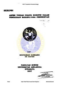 Aspek Tindak Pidana Korupsi Dalam Pengadaan Barang Jasa Pemerintah Repository Unair Repository