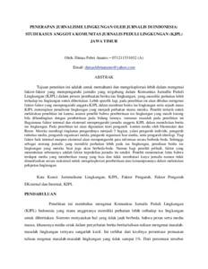 Penerapan Jurnalisme Lingkungan Oleh Jurnalis Di Indonesia Studi Kasus Anggota Komunitas Jurnalis Peduli Lingkungan Kjpl Jawa Timur Repository Unair Repository
