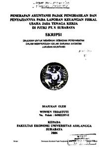 Penerapan Akuntansi Pajak Penghasilan Dan Penyajiannya Pada Laporan Keuangan Fiskal Usaha Jasa Tenaga Kerja Di Pjtki Pt X Surabaya Repository Unair Repository
